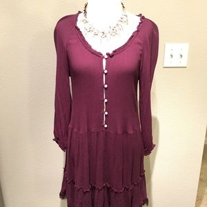 Aerie Peasant Nighty dress Burgundy sexy frill